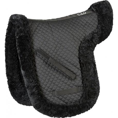 tapis de selle c s o mouton v ritable dressage noir. Black Bedroom Furniture Sets. Home Design Ideas