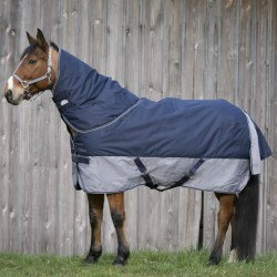 "EQUI-THÈME ""TYREX 600 D"" Turnout rug 300G Navy blue - Grey"
