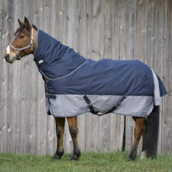 "EQUI-THÈME ""TYREX 600 D"" Turnout rug 150G Navy blue / grey"