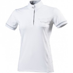 Equi-Theme Cristal polo shirt, short sleeves white, grey / white
