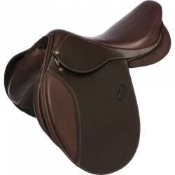 ERIC THOMAS FITTER All-purpose saddle, square cantle Havana brown