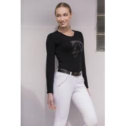 Tee-shirt femme Equi-Theme Jump Strass manches longues