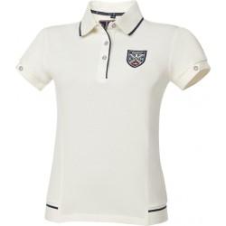 Equit'M E.L. Fine piqué cotton polo shirt short sleeve Cream