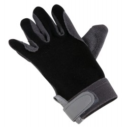 Thin cotton gloves rubberized palm Black