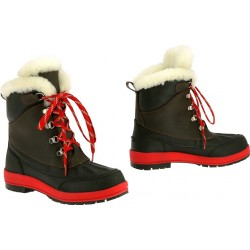 EQUITHÈME Fourrure boots Choco / red