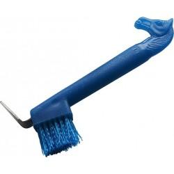 Hoof pick with brush, neon glitter horse head Blue