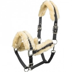 Equi-Theme Mouton veritable halter with real sheepskin Black