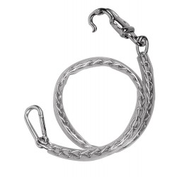 Chain tie covered with clear plastic