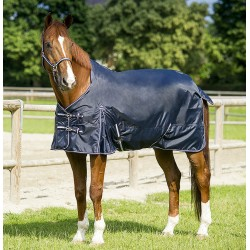 "EQUI-THeME ""Light"" rain sheet navy blue, rope sky blue"