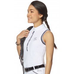 Riding polos Copacabana - Sleeveless White / navy blue