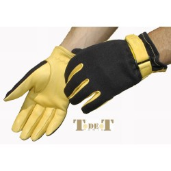 T de T Spandex/leather Gloves Golden colour
