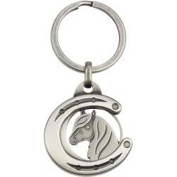 Porte-clés/jeton Fer à cheval avec tête de cheval