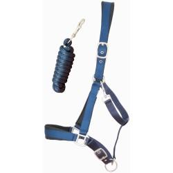 Cabezada de cuadra satinado con ramal T de T Azul marino