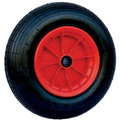 Infl atable wheel 400 x 8 – 4 plys with red plastic rim and inner tube