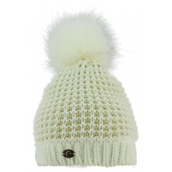 Equit'M Torsades Knitted Bobble Hat Cream