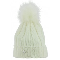 Equi-Theme Côtes Knitted Bobble Hat Cream