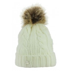 Equi-Theme Double Torsades Knitted Bobble Hat Cream