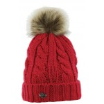 Equi-Theme Double Torsades Knitted Bobble Hat Raspberry