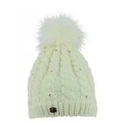 Equi-Theme Paillettes Knitted Bobble Hat Cream
