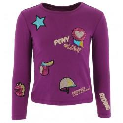 T-shirt Equi-Kids PonyLove à badges filles Violet