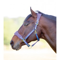 Shires Topaz Fleece Headcollar Black / raspberry