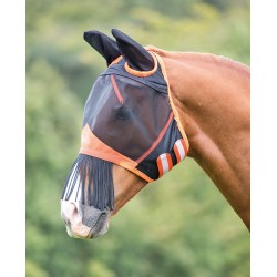 Shires Fine Mesh Fly Mask With Nose Fringe White