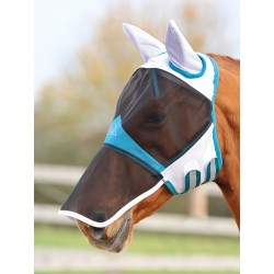 Shires Fine Mesh Fly Mask with Ears & Nose White
