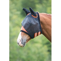 Shires Field Durable Fly Mask With Ears Black