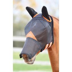 Máscara anti moscas Field Durable con orejas y nariz Shires Negro