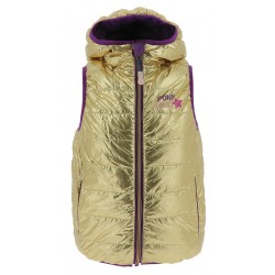 Equi-Kids Pony love Reversible jacket sleeveless with hood-Girls Purple / golden