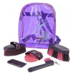 Kit Grooming Equi-Kids Pégase Violet / rose