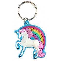 Porte-clés caoutchouc Licorne Multicolore