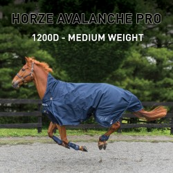 Horze Avalanche 1200D Medium Weight 150g High neck Turnout Blue