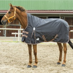 "EQUI-THÈME ""TYREX 1200 D"" High neck rug 150G grey / orange"