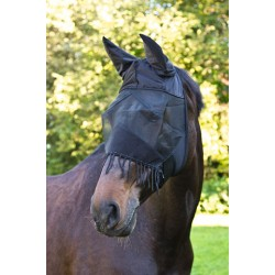 FLY MASK WITH EAR PROTECTOR AND NOSTRIL CORD Black